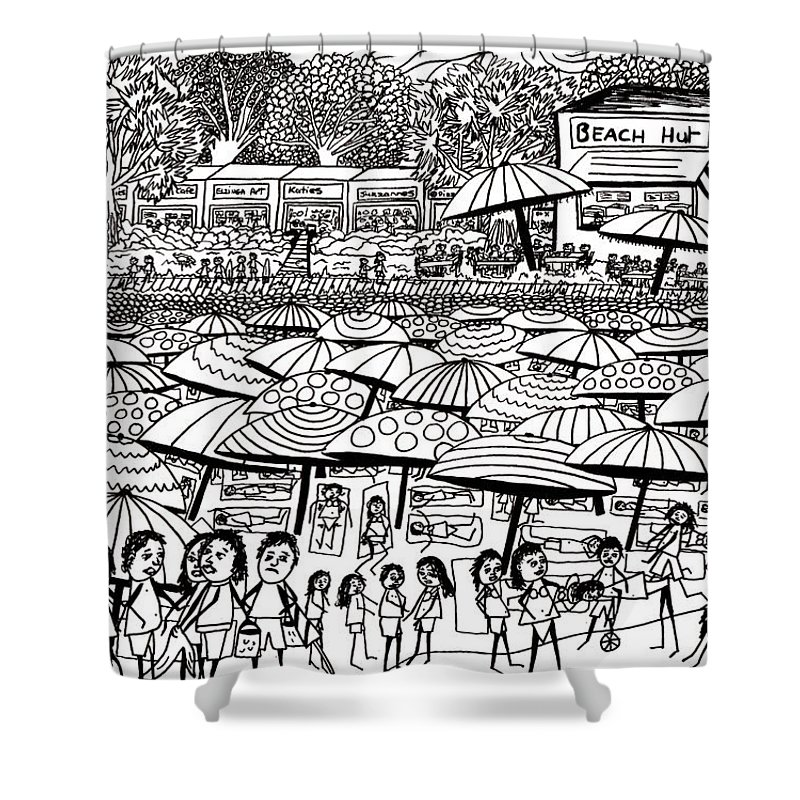 Beach Shower Curtain featuring the drawing Crowded Beach Black And White by Karen Elzinga