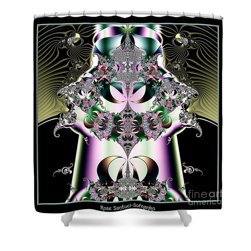 Crown Shower Curtain featuring the digital art Crown And Jeweled Lotus Flowers Fractal 124 by Rose Santuci-Sofranko