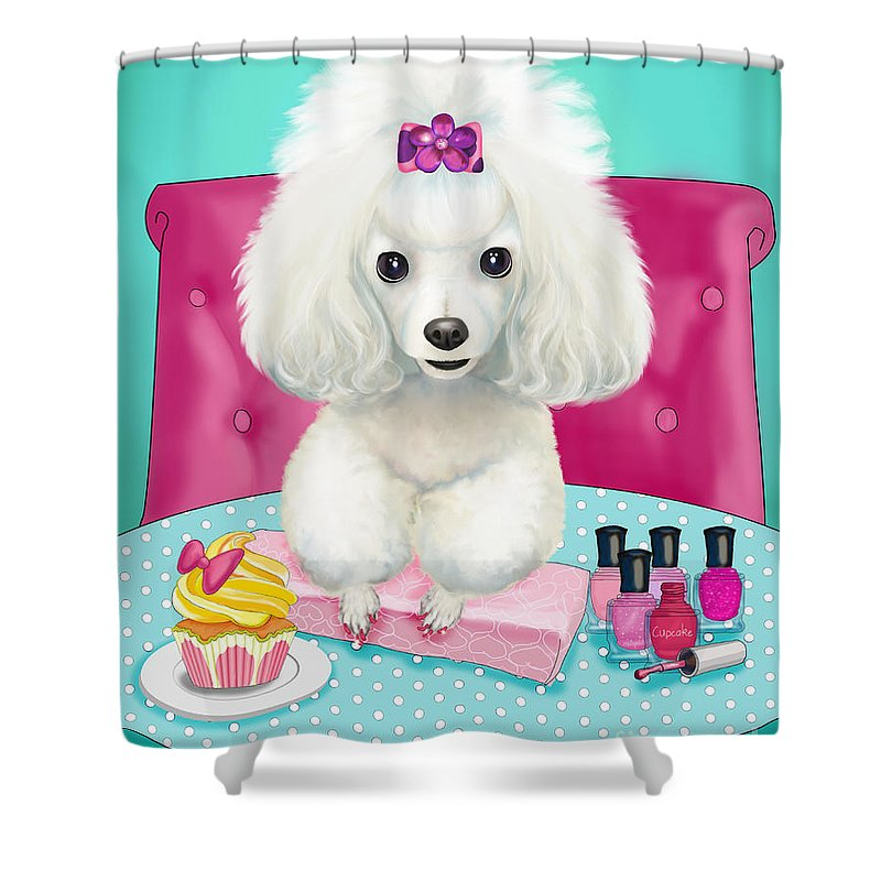 Poodle Shower Curtain featuring the mixed media Cupcakes Day At The Nail Spa by Catia Lee