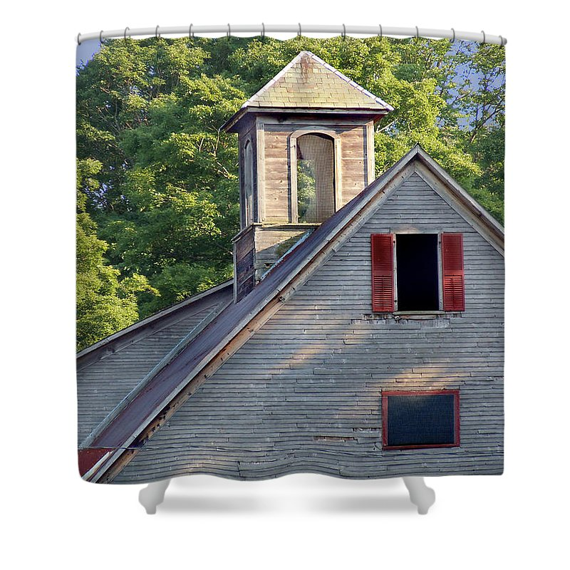 Barn Shower Curtain featuring the photograph Cupola In Light by Nancy Griswold