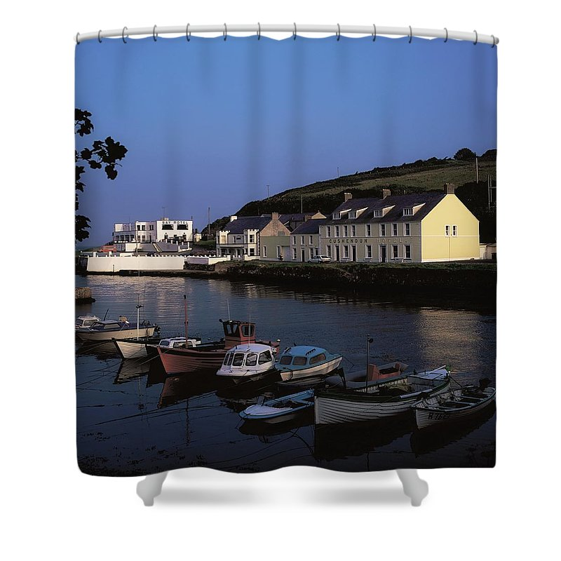Architecture Shower Curtain featuring the photograph Cushendun Harbour, Co Antrim, Ireland by The Irish Image Collection