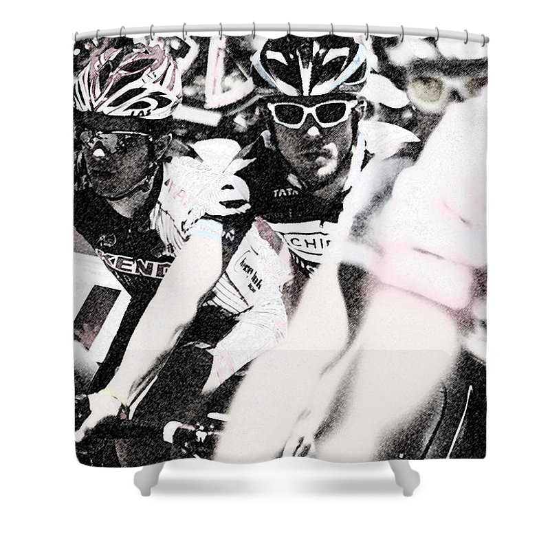 Photograph Shower Curtain featuring the photograph Cycllist In The Peleton by Vicki Pelham