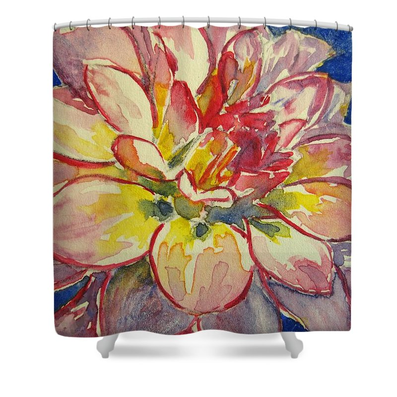 Dahlia Shower Curtain featuring the painting Dahlia by Corynne Hilbert