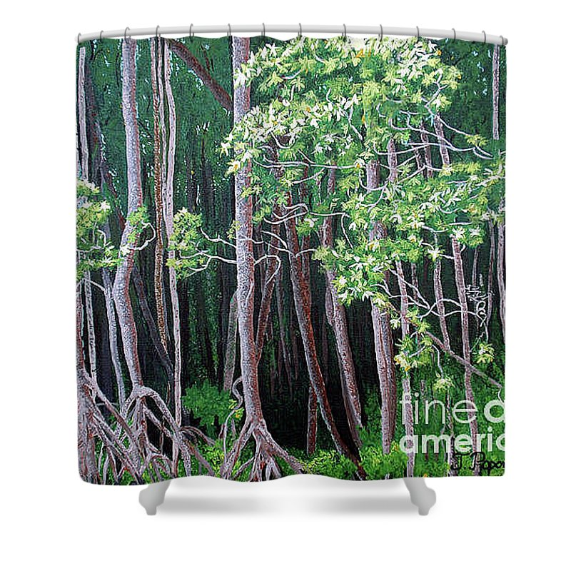 Paintings Shower Curtain featuring the painting Daintree Forest At Twilight by Tatjana Popovska