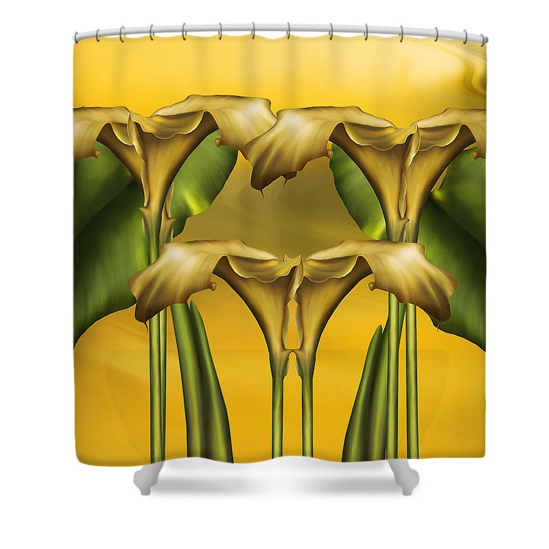 Abstract Realism Shower Curtain featuring the digital art Dance Of The Yellow Calla Lilies by Georgiana Romanovna