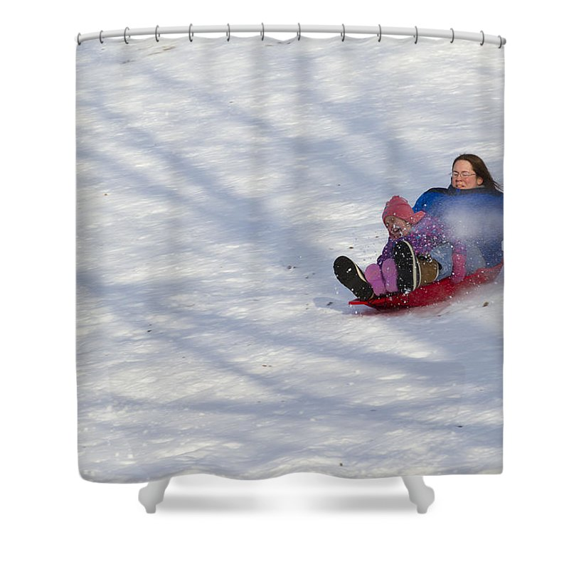 Mother Shower Curtain featuring the photograph Dawn Flora Sledding 12812c by John Brueske