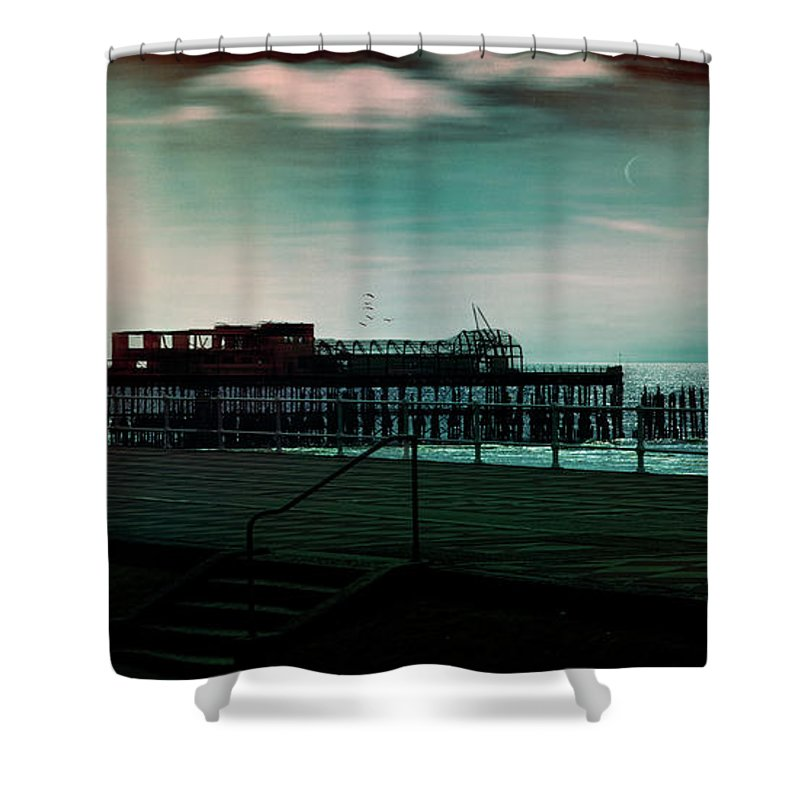 Seafront Shower Curtain featuring the photograph Dawn On The Seafront At Hastings by Chris Lord