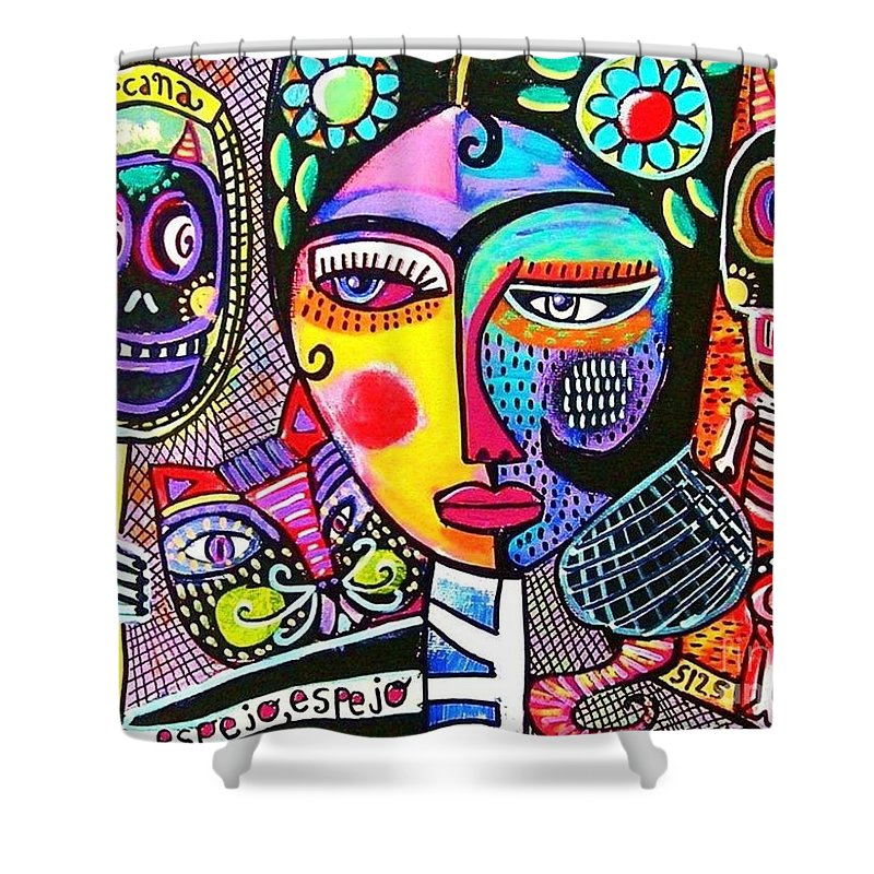 Mexican Shower Curtain Featuring The Painting Day Of Dead Frida Mirror By Sandra