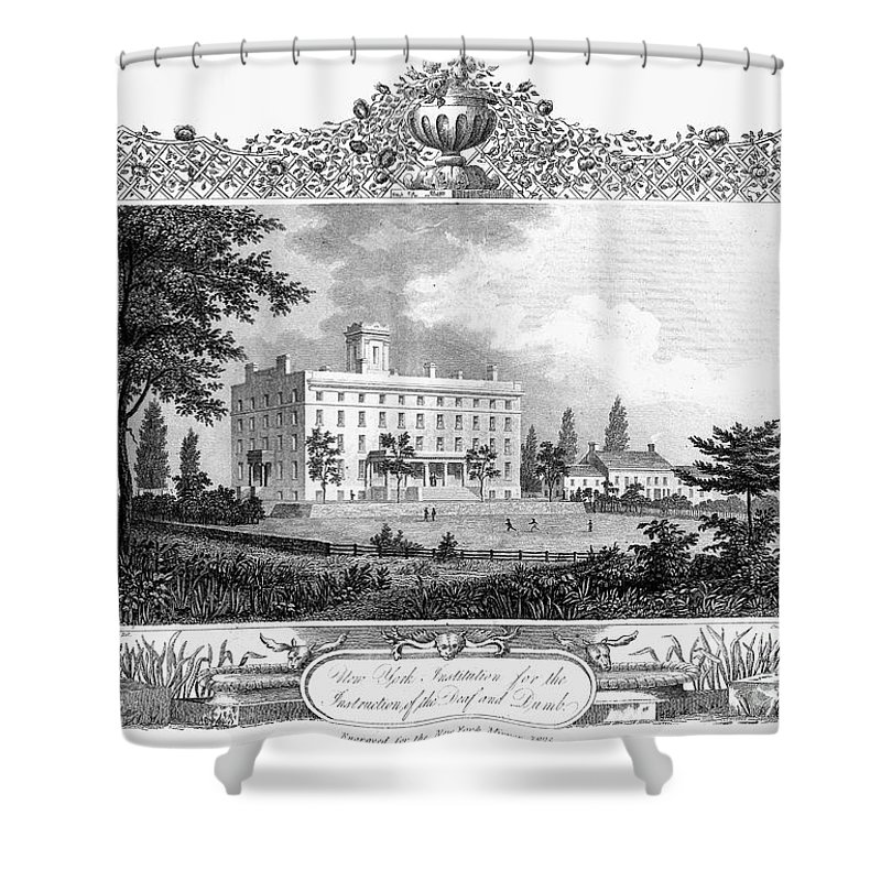 1835 Shower Curtain featuring the photograph Deaf And Dumb Asylum, 1835 by Granger