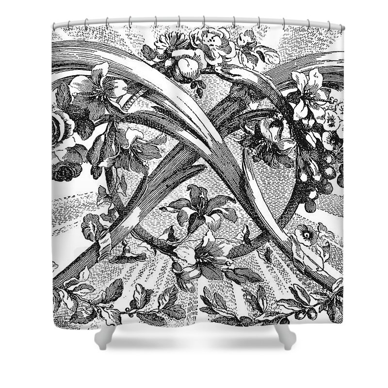 1762 Shower Curtain featuring the photograph Decorative Engraving by Granger