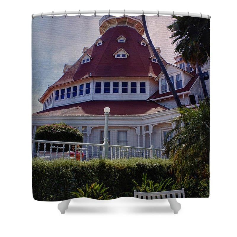 Del Coronado Hotel Shower Curtain featuring the photograph Del Coronado Hotel San Diego by Linda Dunn
