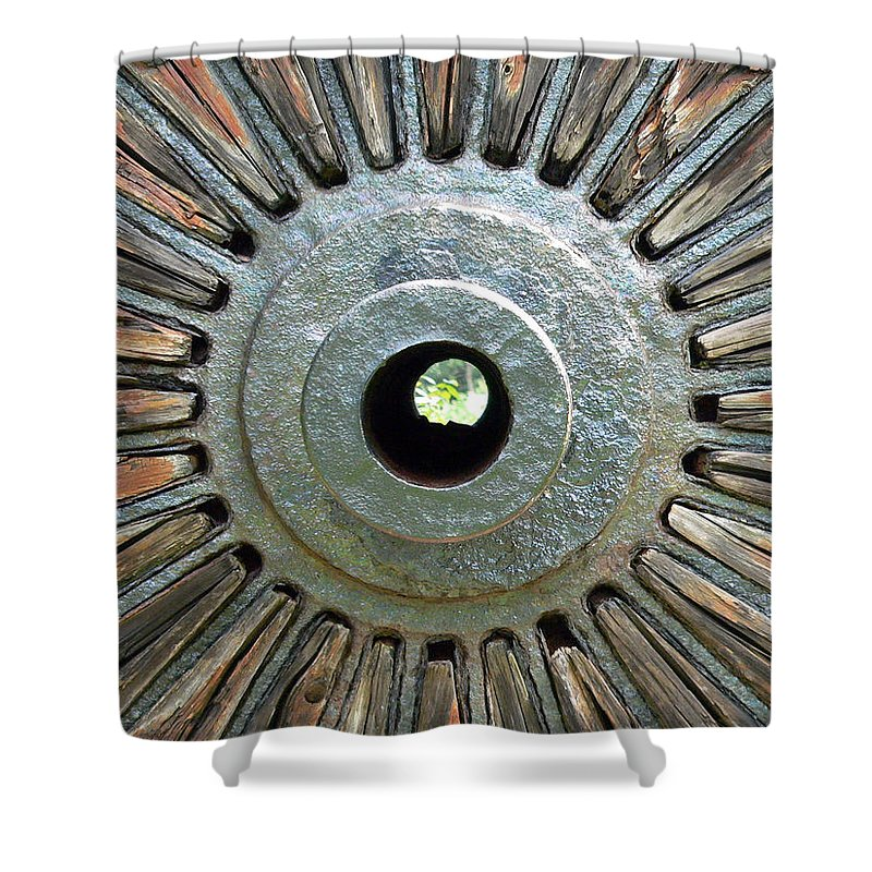 Deleon Springs Wheel Spoke Antique Old Shower Curtain featuring the photograph Deleon Springs Wheel Spoke by Alice Gipson