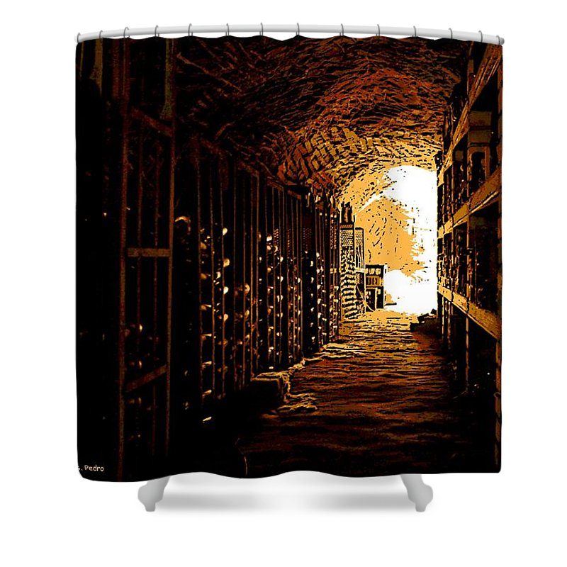 Wine Shower Curtain featuring the photograph Den Of Dionysus by George Pedro
