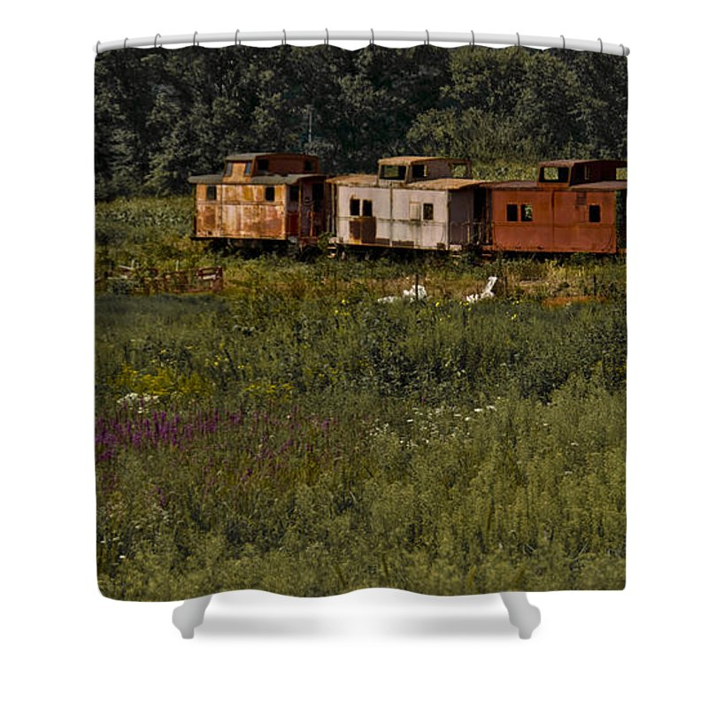 Train Shower Curtain featuring the photograph Derailed by Trish Tritz