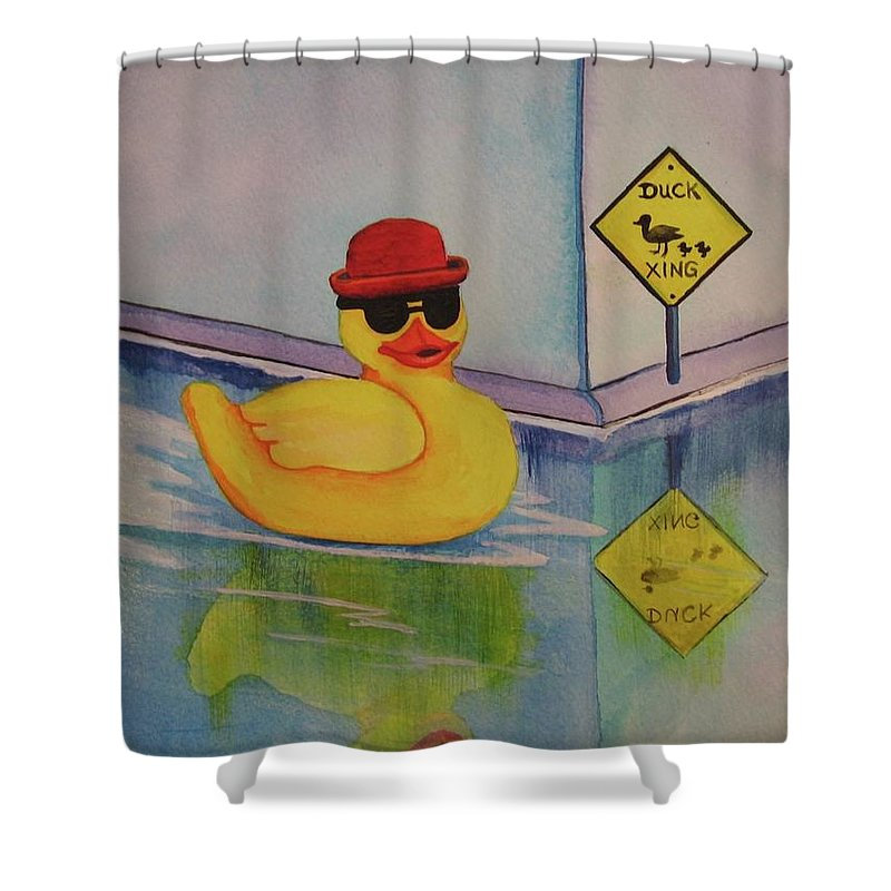 Duck Derby Shower Curtain Featuring The Painting By CB Woodling