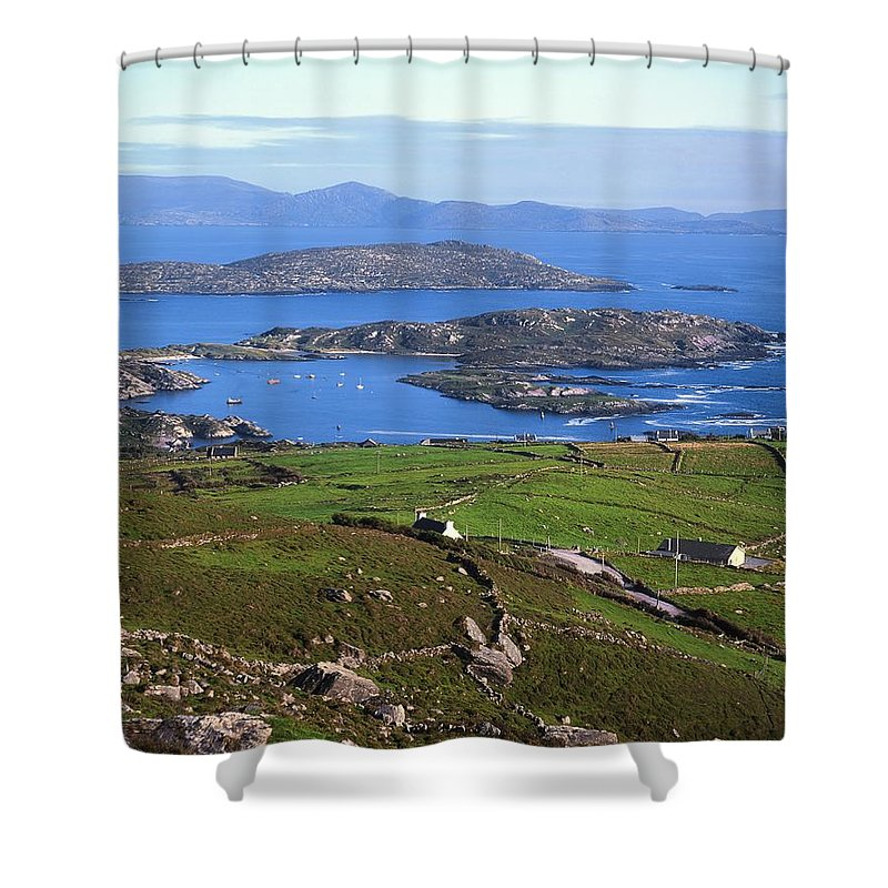 Boat Shower Curtain featuring the photograph Derrynane Harbour, Caherdaniel, Ring Of by The Irish Image Collection
