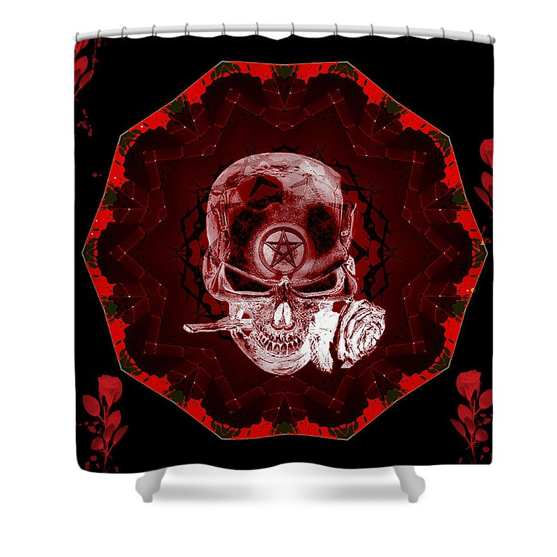 Devil Shower Curtain featuring the digital art Devils Advocate by Michael Damiani