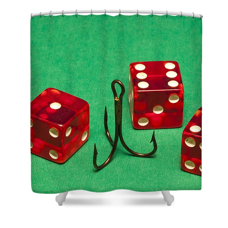Red Shower Curtain featuring the photograph Dice Red Hook 1 A by John Brueske