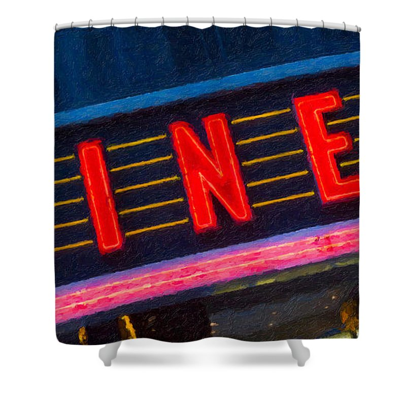 Clarence Holmes Shower Curtain featuring the photograph Diner Sign In Neon by Clarence Holmes