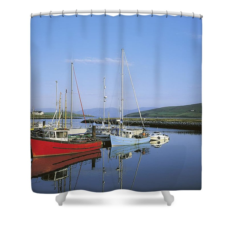 Blue Sky Shower Curtain featuring the photograph Dingle Peninsula, Dingle Harbour by The Irish Image Collection
