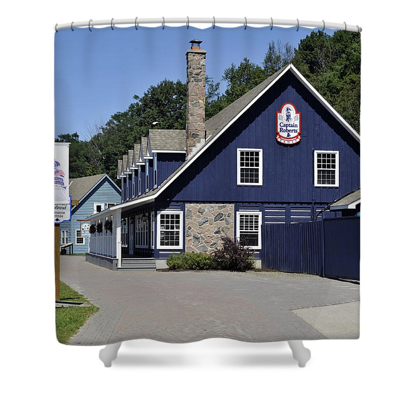 Building Shower Curtain featuring the photograph Discovery Harbour by Elaine Mikkelstrup