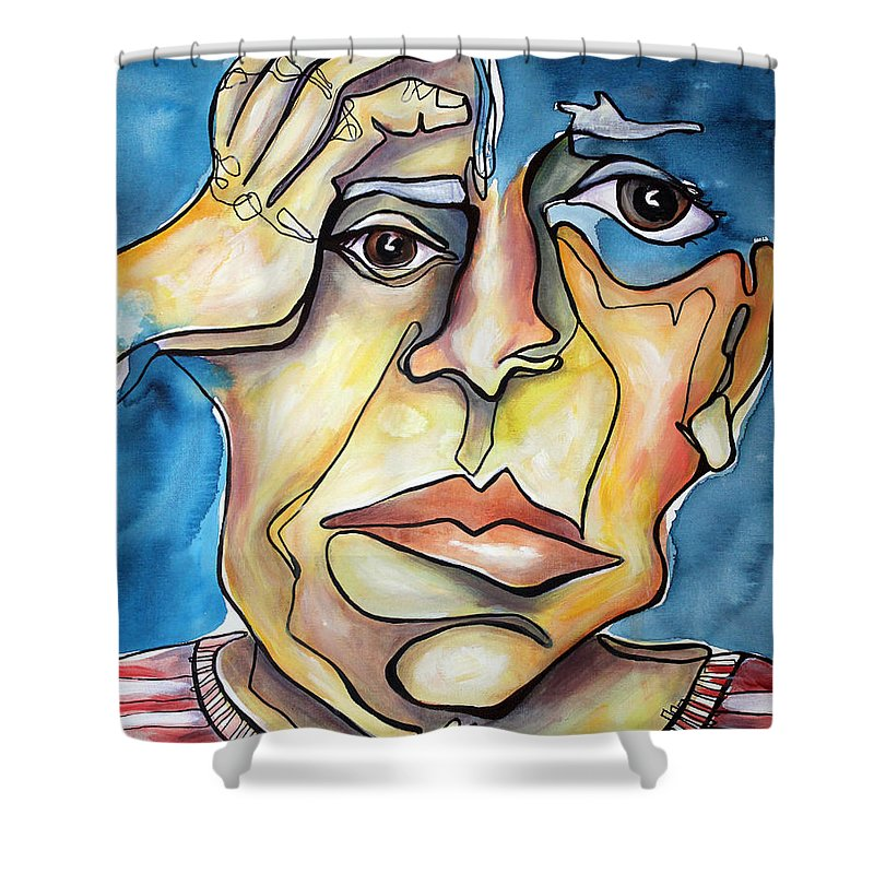 Portrait Shower Curtain featuring the painting Disjointed Thought by Darcy Lee Saxton