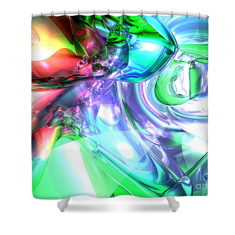 3d Shower Curtain featuring the digital art Disorderly Color Abstract by Alexander Butler