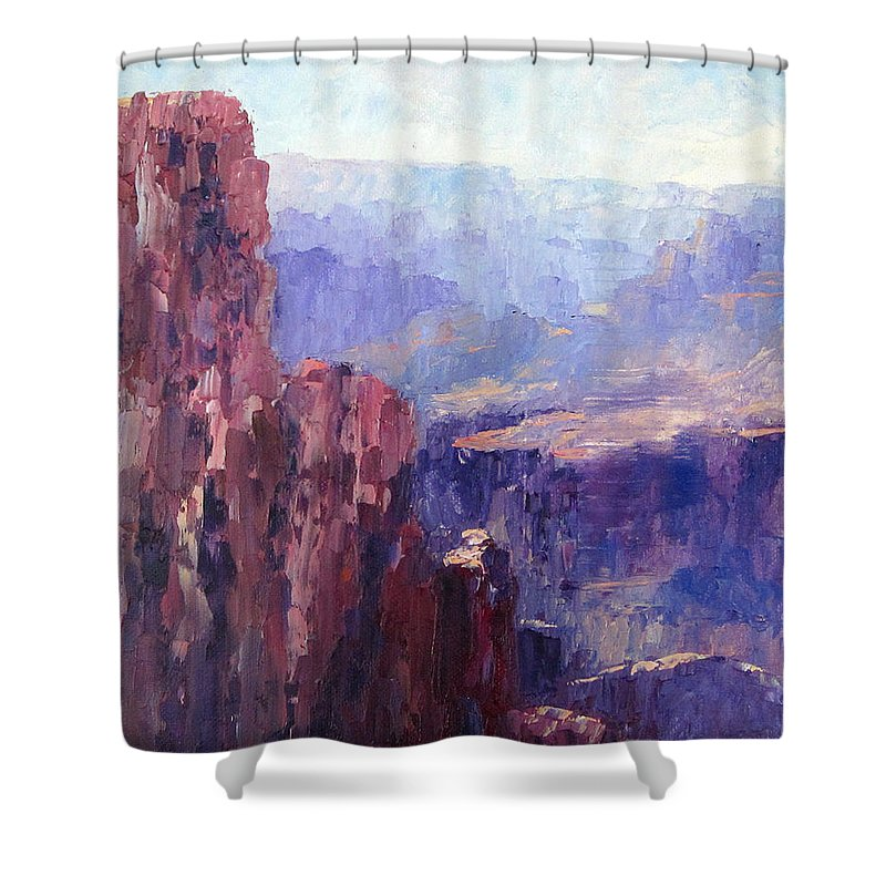 Grand Canyon Shower Curtain featuring the painting Distance by Terry Chacon