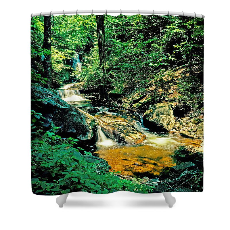Pennsylvania Shower Curtain featuring the photograph Distant Ozone Falls And Rapids - Summer by Rich Walter