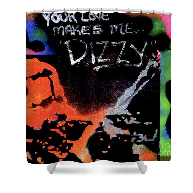 Jazz Shower Curtain featuring the painting Dizzy Love by Tony B Conscious