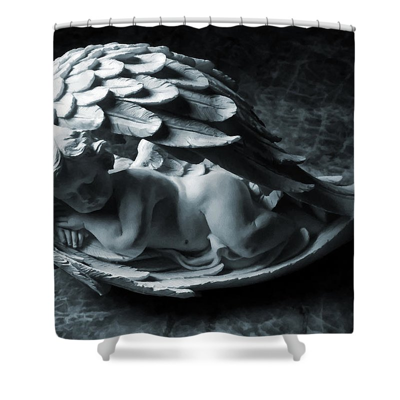 Angel Shower Curtain featuring the photograph Do Not Disturb by Steve Taylor