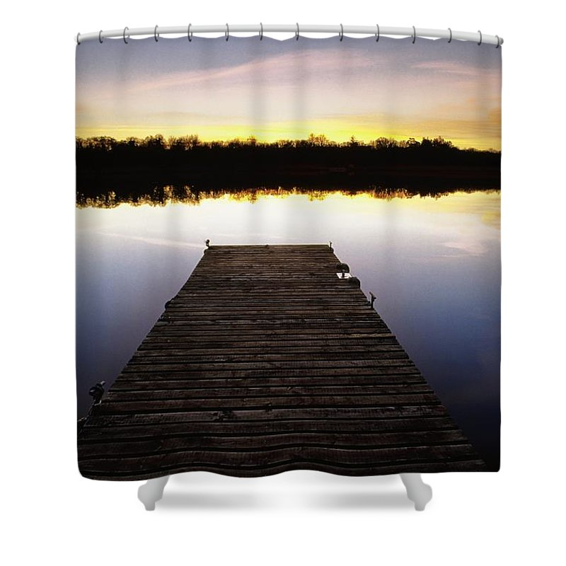 Sunset Shower Curtain featuring the photograph Dock At Sunset by Gareth McCormack