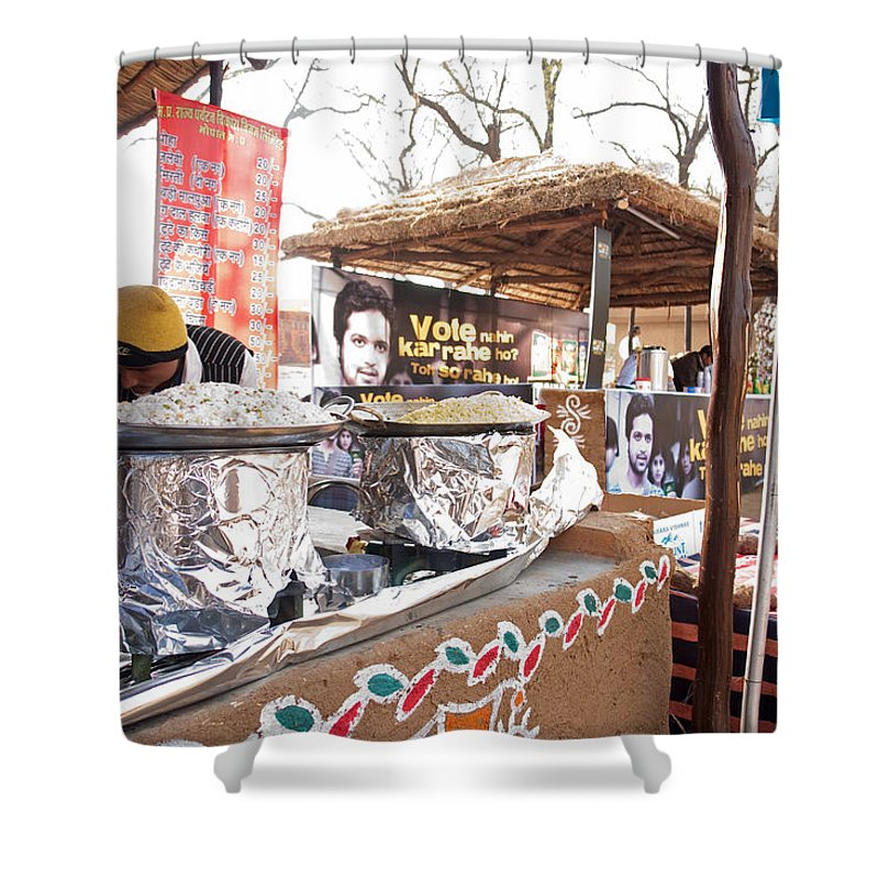 People Shower Curtain featuring the photograph Doing Vendor Duty At Food Stalls In The Surajkand Mela by Ashish Agarwal