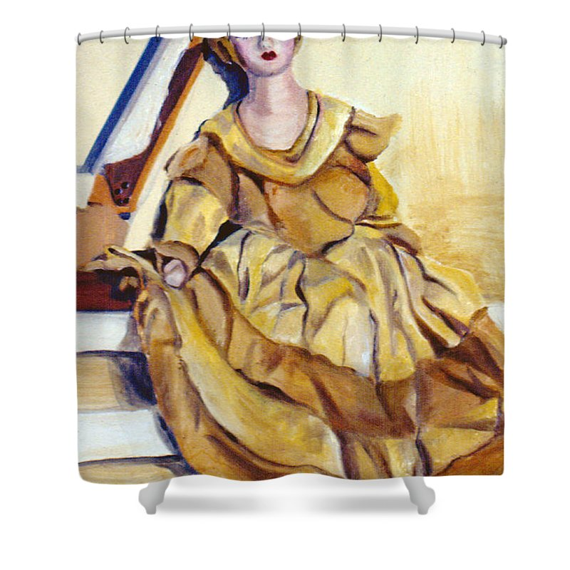Doll Shower Curtain featuring the painting Doll On Canvases by Nancy Griswold