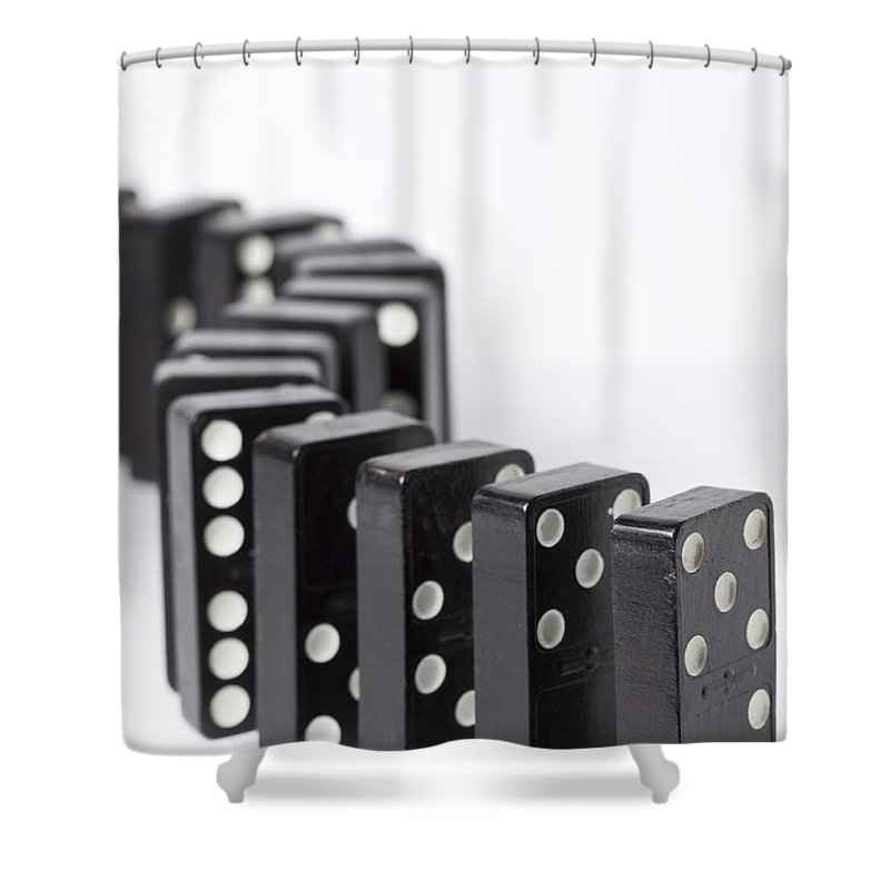 Domino Shower Curtain featuring the photograph Dominos S 1 by John Brueske