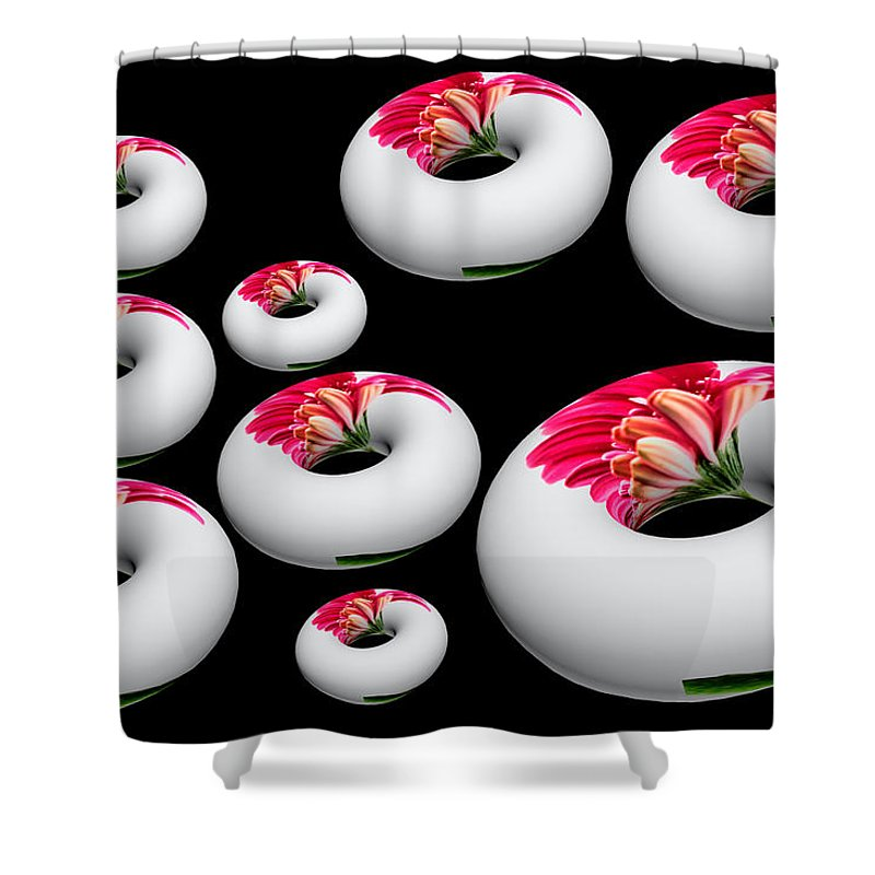 Pink Gerbera Flower Shower Curtain featuring the photograph Donut Overload by Steve Purnell