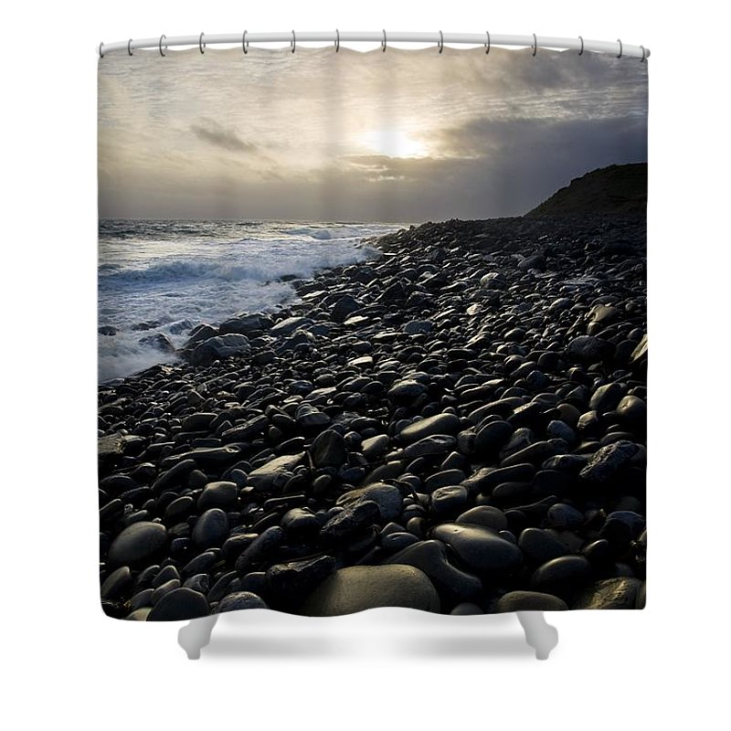 Beach Shower Curtain featuring the photograph Doolin, County Clare, Ireland Pebble by Peter McCabe