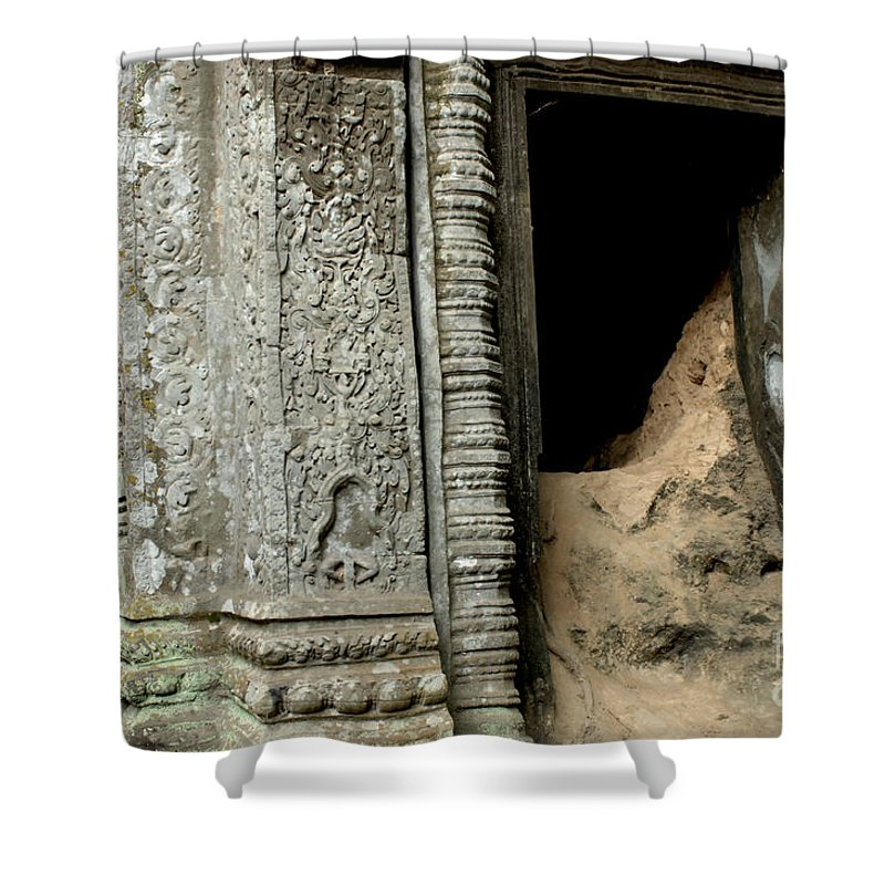 Cambodian Youth Shower Curtain featuring the photograph Doorway Ankor Wat by Bob Christopher