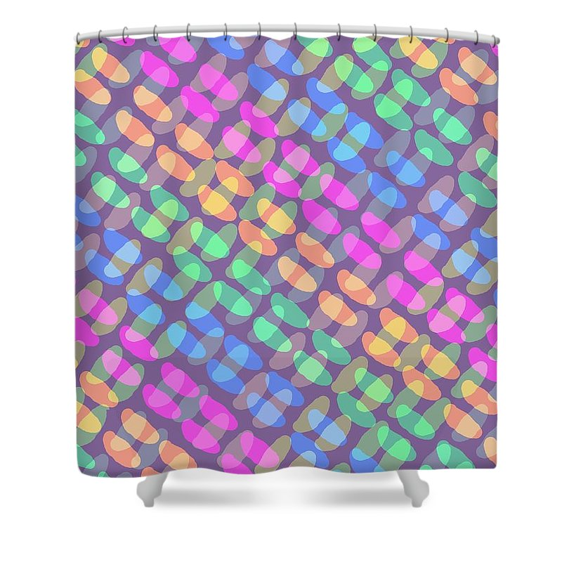 Dotted Check Shower Curtain featuring the digital art Dotted Check by Louisa Knight