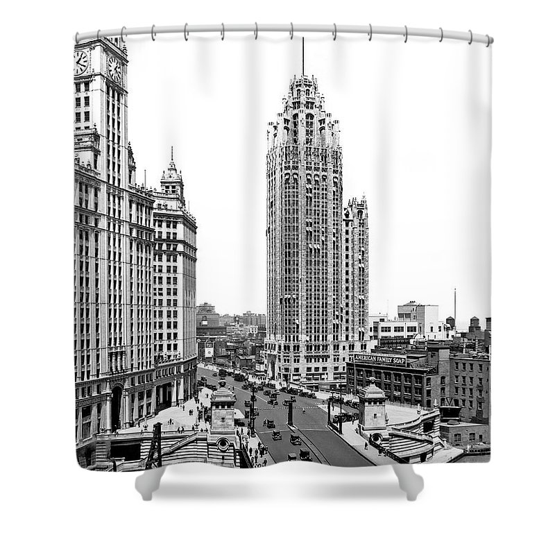 1920's Shower Curtain featuring the photograph Downtown Chicago by Underwood Archives