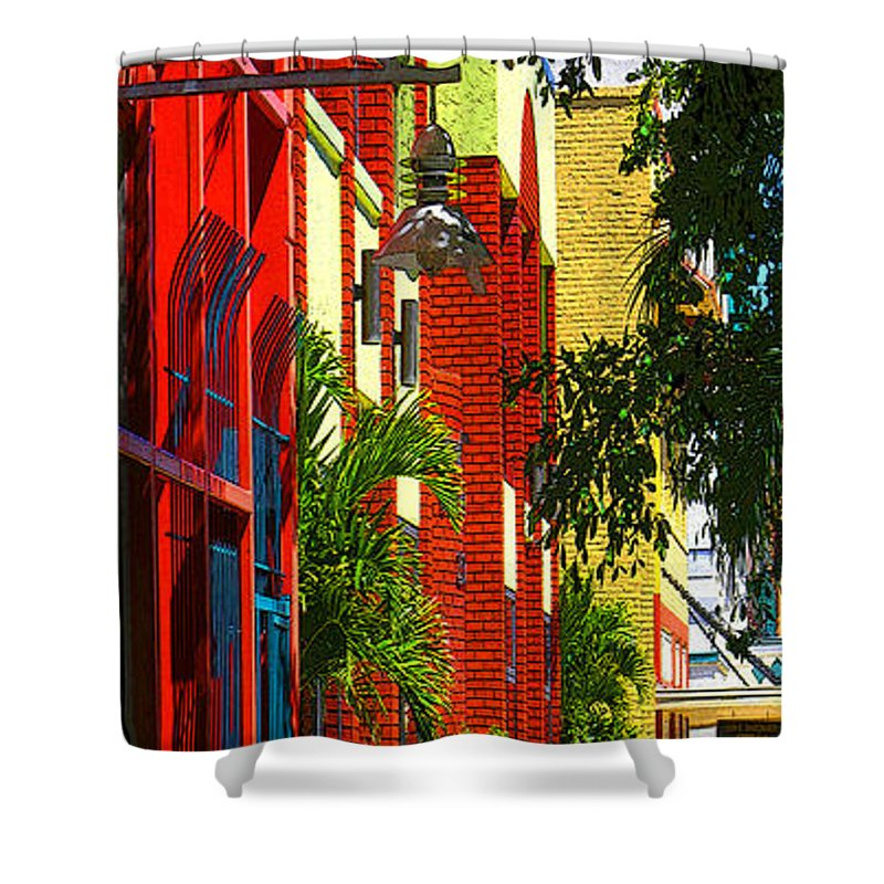 Red Shower Curtain featuring the digital art Downtown Ft Myers by Peggy Starks