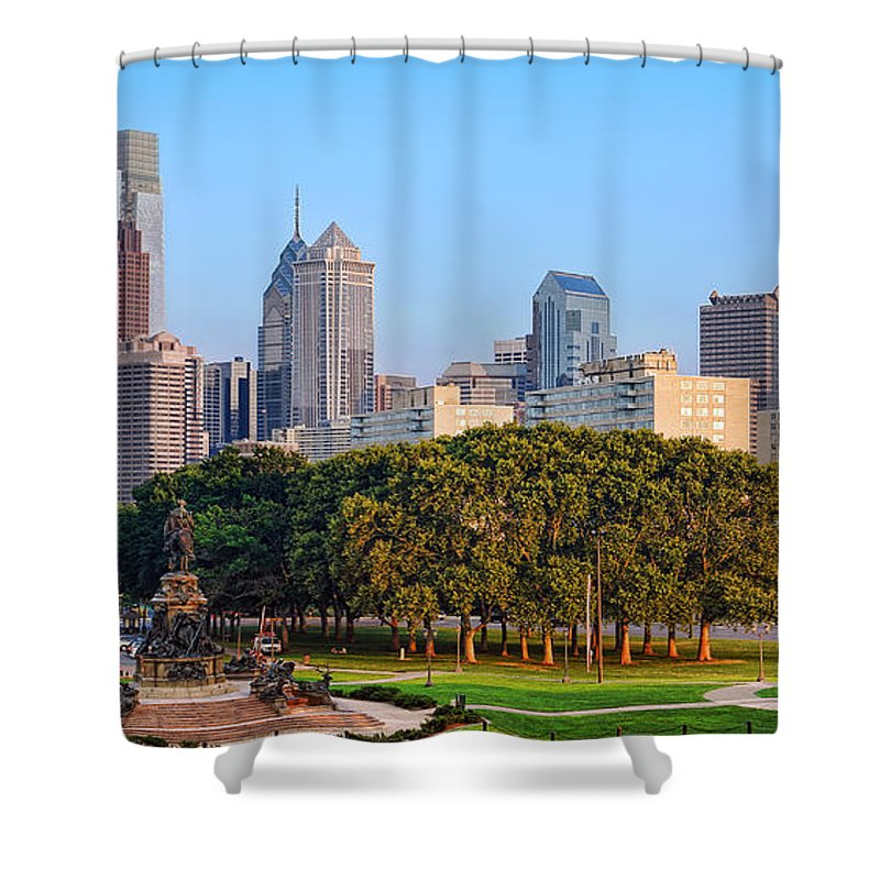 Downtown Shower Curtain featuring the photograph Downtown Philadelphia Skyline by Olivier Le Queinec