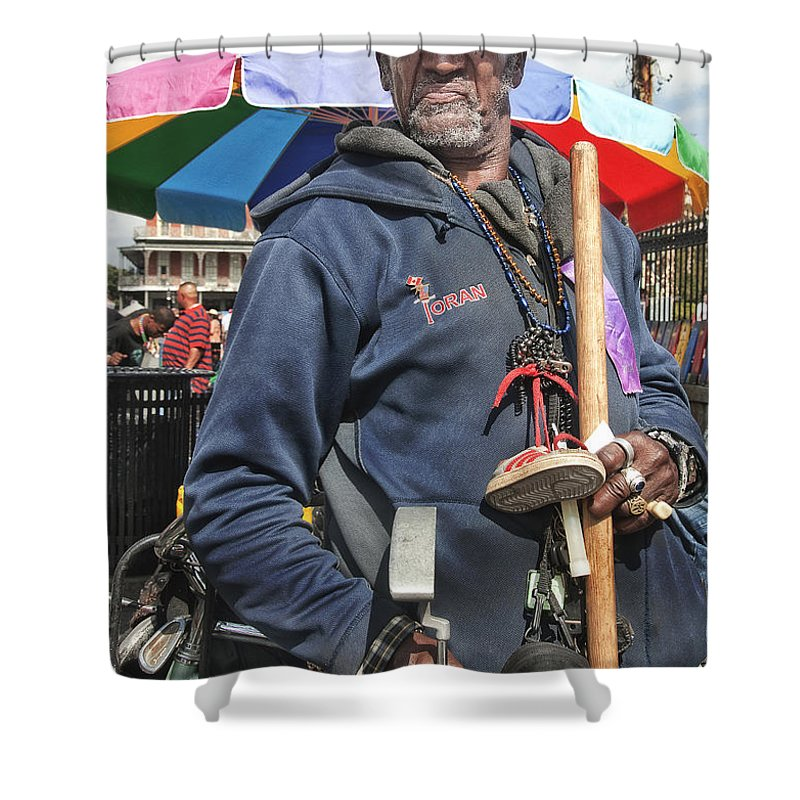 Photography Shower Curtain featuring the photograph Dr. Luv In Jackson Square by Kathleen K Parker