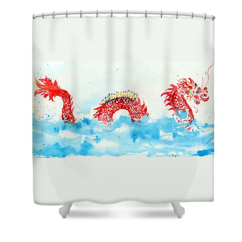 Dragon Boat Shower Curtain Featuring The Painting By Rachel Dutton