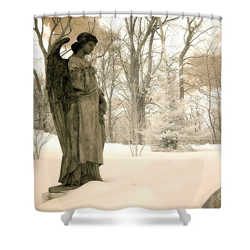 Cemetery Angel Shower Curtain Featuring The Photograph Dreamy Surreal Sepia Nature Scene By Kathy Fornal