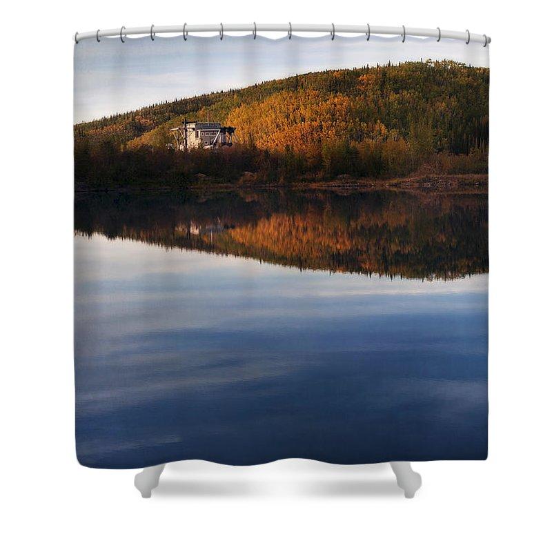 Dredge Shower Curtain featuring the photograph Dredge No. 4 by Priska Wettstein