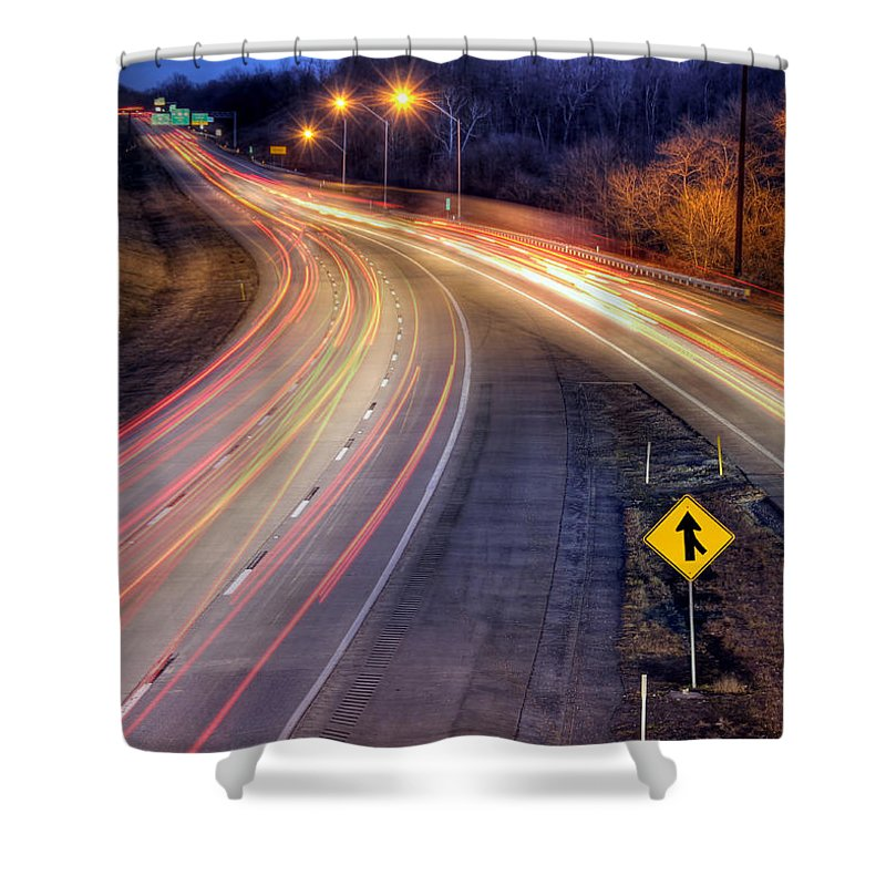 Night Shower Curtain featuring the photograph Drive by Lori Deiter