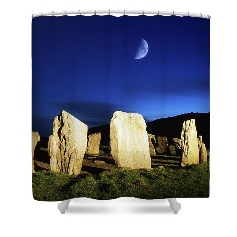 Antiquity Shower Curtain featuring the photograph Drombeg, County Cork, Ireland Moon Over by Richard Cummins