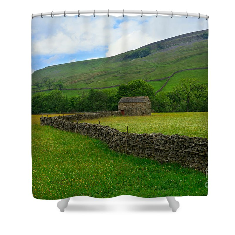 Field Shower Curtain featuring the photograph Dry Stone Walls And Stone Barn by Louise Heusinkveld