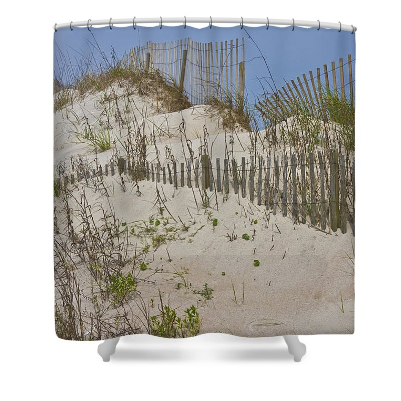 Topsail Shower Curtain featuring the photograph Dunes I by Betsy Knapp